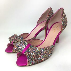 Kate Spade Heels Charm Pumps Glitter Pink Italy 7